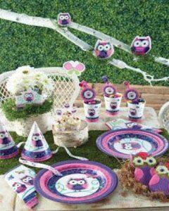 праздник в стиле совы одноразовая посуда праздничный декор