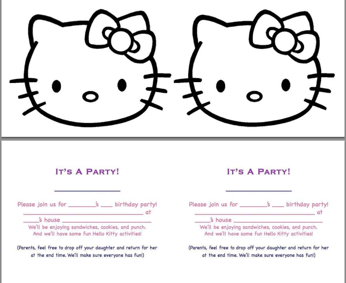 birthday-invitations-simple-white-hello-kitty-party-invitation-design-idea-with-black-hello-kitty-motive-and-purple-pink-blue-letters-snazzy-hello-kitty-party-invitation-design-ideas