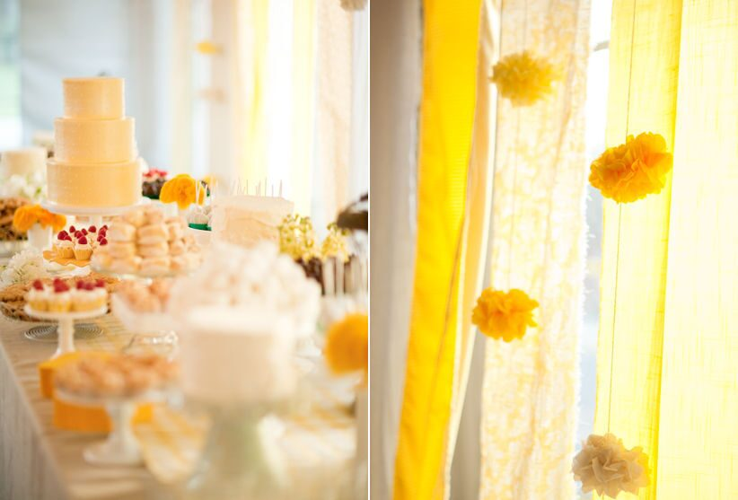 yellow-tissue-paper-pom-poms-yellow-gingham-yellow-white-wedding-cake