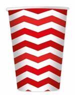 Стаканы одноразовые бумажные Красные Зигзаг (шеврон), 8 шт