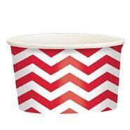 Стаканы для мороженого и сладостей бумажные Красные Зигзаг