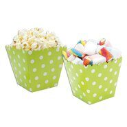 Коробочки для попкорна и сладостей Зеленые в горошек (поп корн), 6 шт (салатовый)