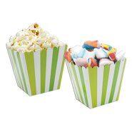Коробочки для попкорна и сладостей Салатовая(зеленая) полоска (поп корн), 6 шт