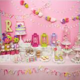 glam camping birthday party dessert table display-950x950