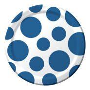 Тарелки одноразовые бумажные Синий горошек, 17 см 8 шт
