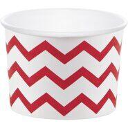 Стаканы для мороженого и сладостей бумажные Красный шеврон