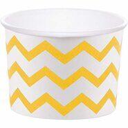Стаканы для мороженого и сладостей бумажные Желтый шеврон